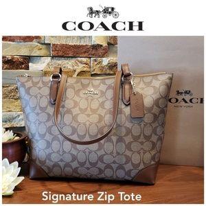 NEW Coach Signature Zip Tote w/ gift box